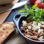 Savoury Breakfast Bowl Topped with Rocket and Feta