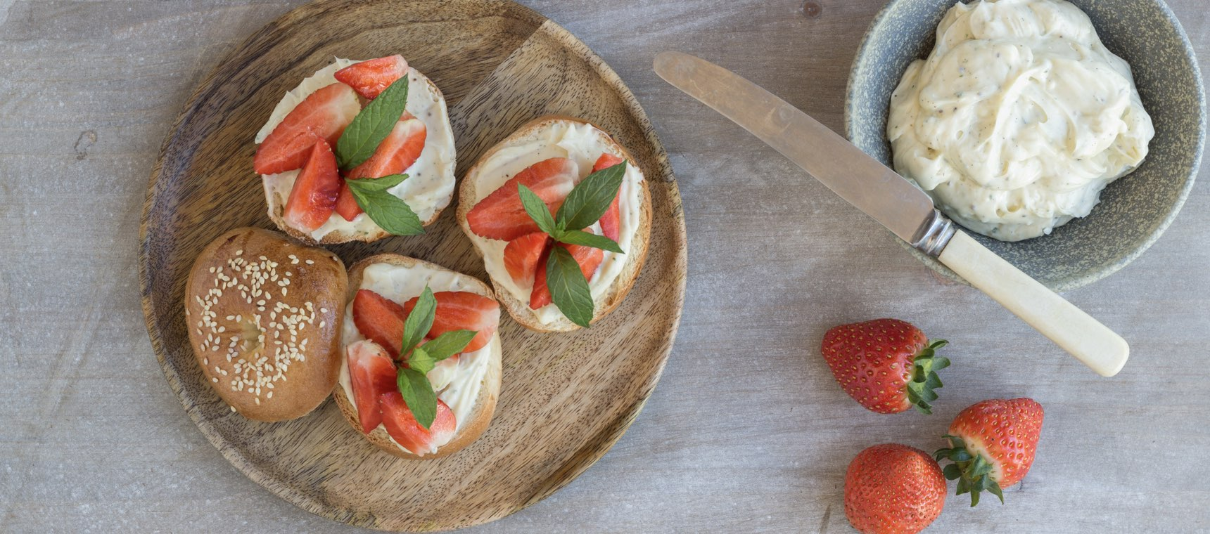 Strawberry and Mint Cream Cheese Bagels