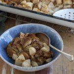 Warm Pear Spiced Raisin Bread and Butter Pudding