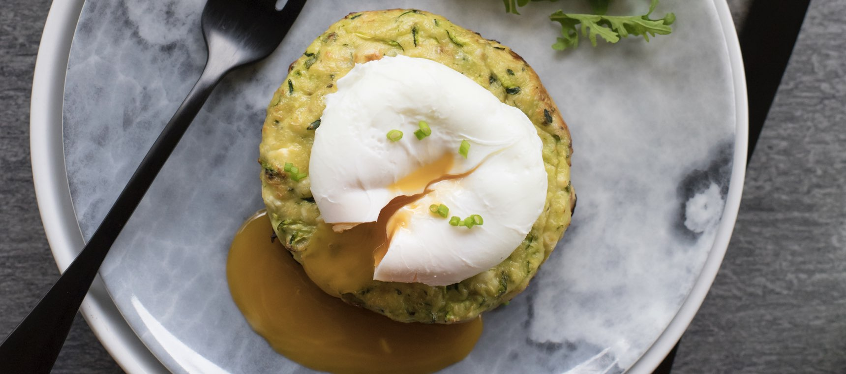 Zucchini and Feta Fritters with Poached Eggs