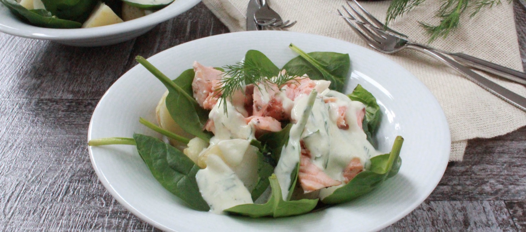 Warm Potato Salad with Salmon and Spinach