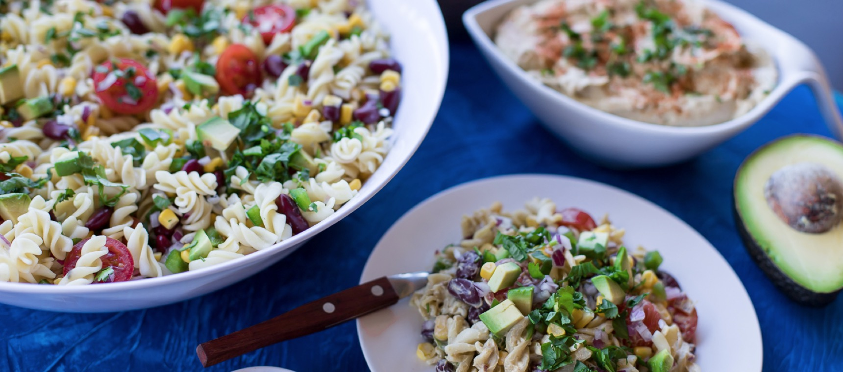 Mexican Pasta Salad with Avocado Dressing