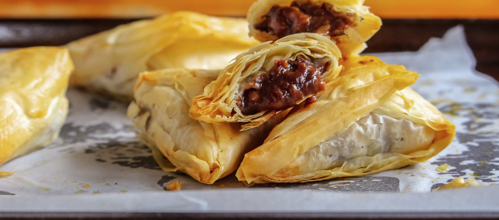 Banana Chocolate Filo Triangles
