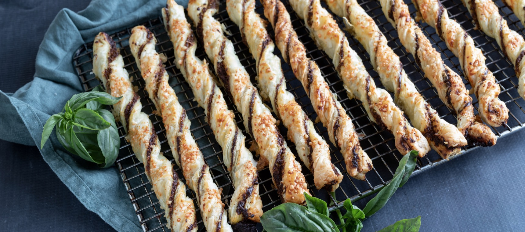 Cheesy Basil Pastry Twists
