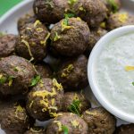 Spiced Beef Meatballs with Lemon Yoghurt Sauce