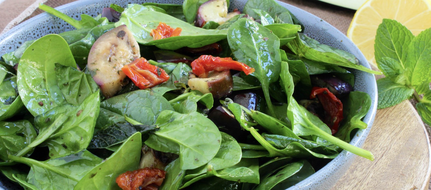 Grilled Eggplant and Spinach Salad